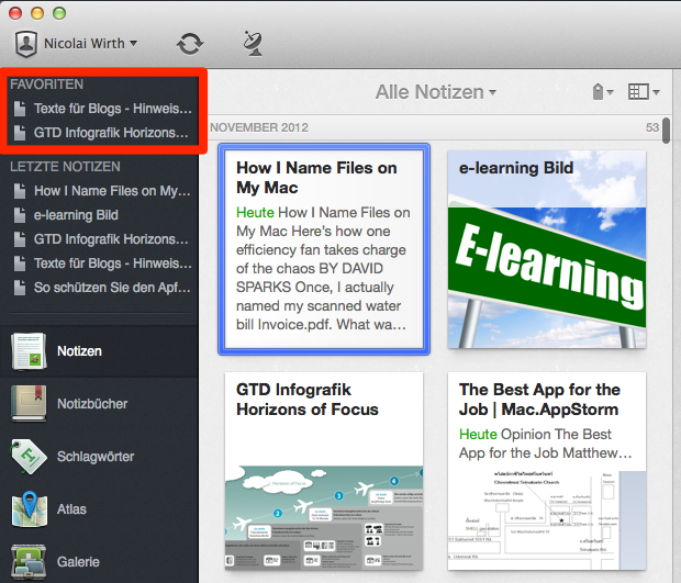 Evernote Favoriten