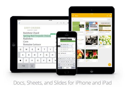 google docs sheets slides ios