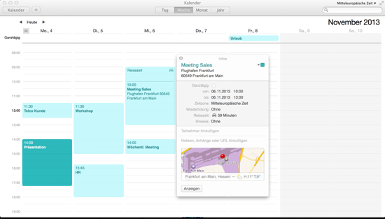 Maps in Kalender OS X Mavericks