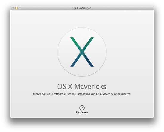 Mavericks Installation Start