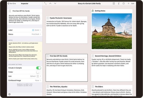 metainformationen zu artikeln in scrivener ipad