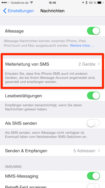 iPhone SMS Einstellungen