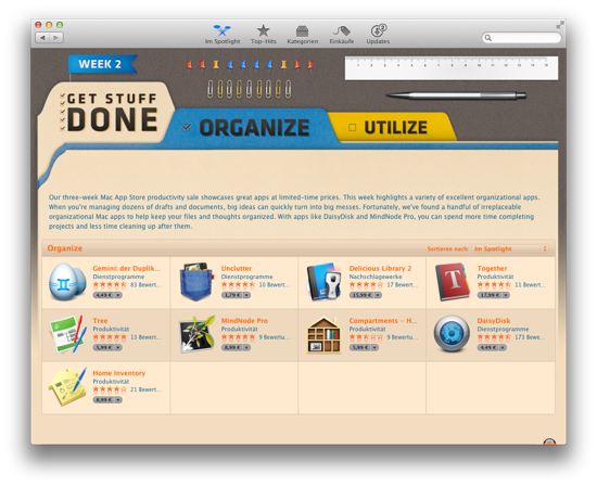 Mac App Store Getting Things Done Angebote