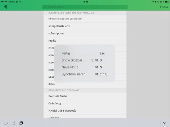Shortcuts Evernote Suche